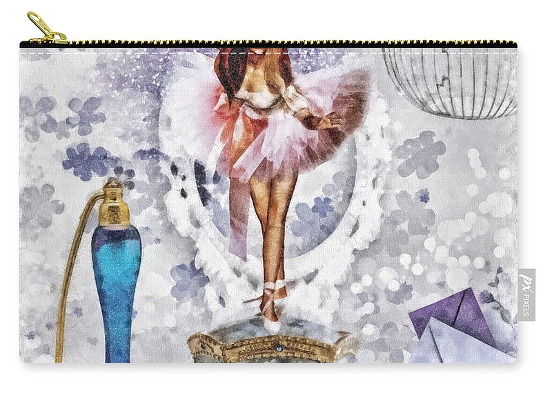Ballerina Carry-all Pouch featuring the mixed media Ballerina by Mo T