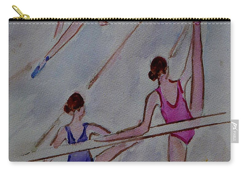 The Ballet Studio Carry-all Pouch featuring the painting Ballerina Studio by Xueling Zou