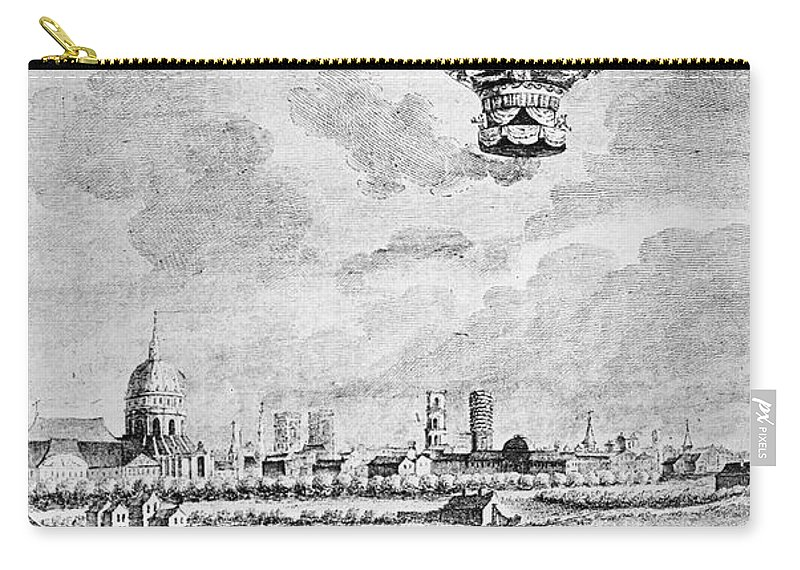 1783 Carry-all Pouch featuring the photograph Balloon Flight, 1783 by Granger