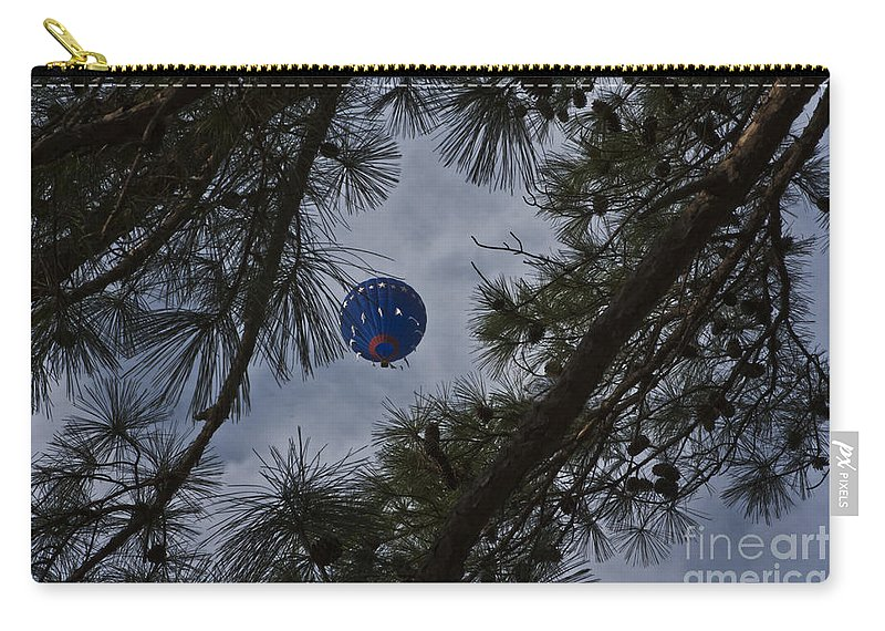 Hot Air Balloons Carry-all Pouch featuring the photograph Balloon In The Pines by Kim Henderson