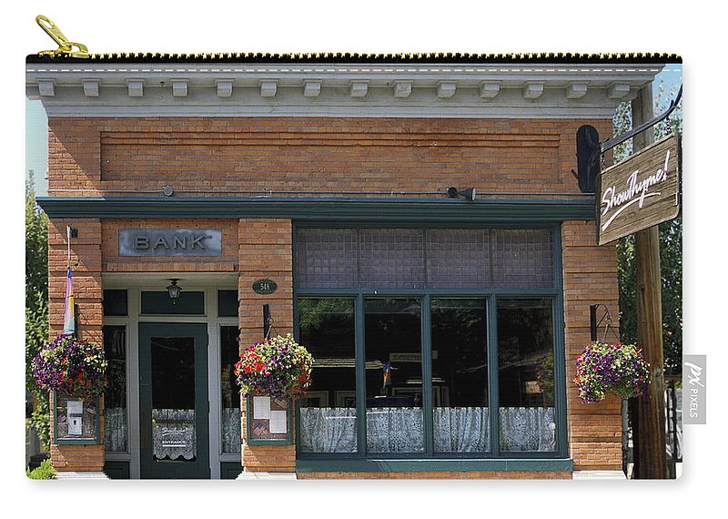 Historic Brick Bank Building Now Restaurant Carry-all Pouch featuring the photograph Bank Now Restaurant by Sally Weigand