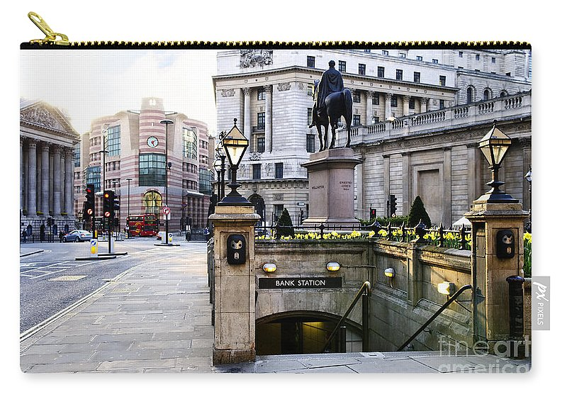 London Carry-all Pouch featuring the photograph Bank Station Entrance In London by Elena Elisseeva