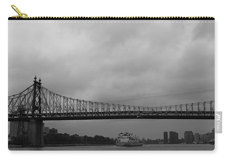 Queensboro Bridge Carry-all Pouch featuring the photograph Barge Under The Bridge by Catie Canetti