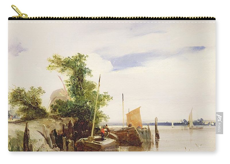 Xyc162466 Carry-all Pouch featuring the photograph Barges On A River by Richard Parkes Bonington
