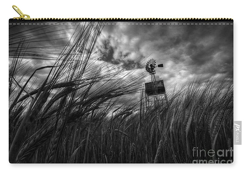Barley Carry-all Pouch featuring the photograph Barley And The Pump Mono by Rob Hawkins