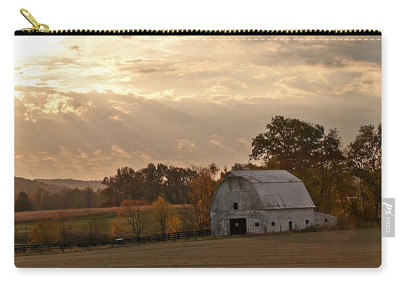 Barn In Warming Storm Carry-all Pouch featuring the photograph Barn In Warming Storm by Randall Branham