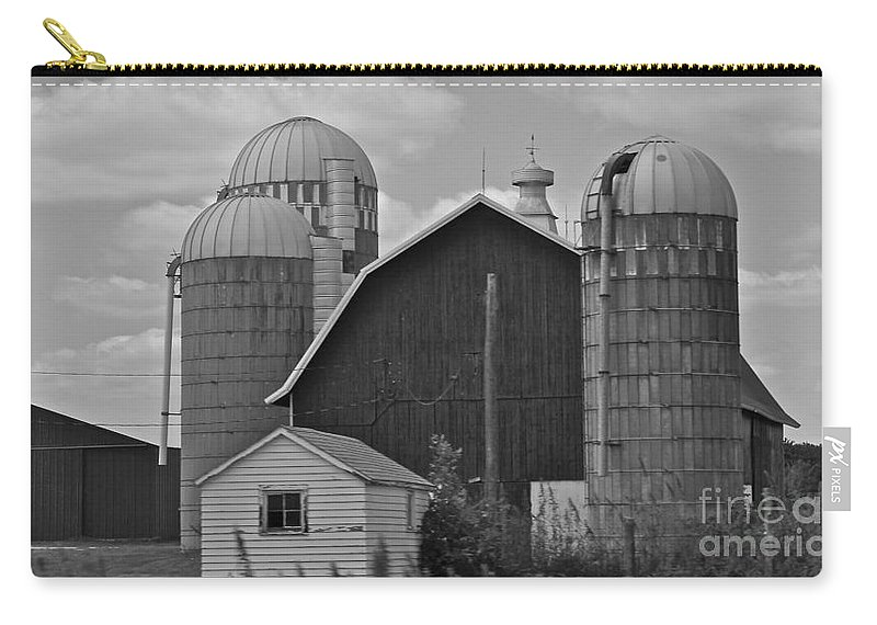 Black And White Carry-all Pouch featuring the photograph Barns And Silos Black And White by Pamela Walrath