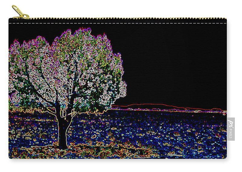 Tree Carry-all Pouch featuring the digital art Barren Tree by Charles Benavidez