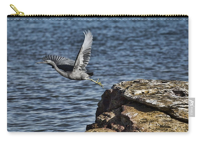 Dark Reef Egret Carry-all Pouch featuring the photograph Base Jumper by Douglas Barnard