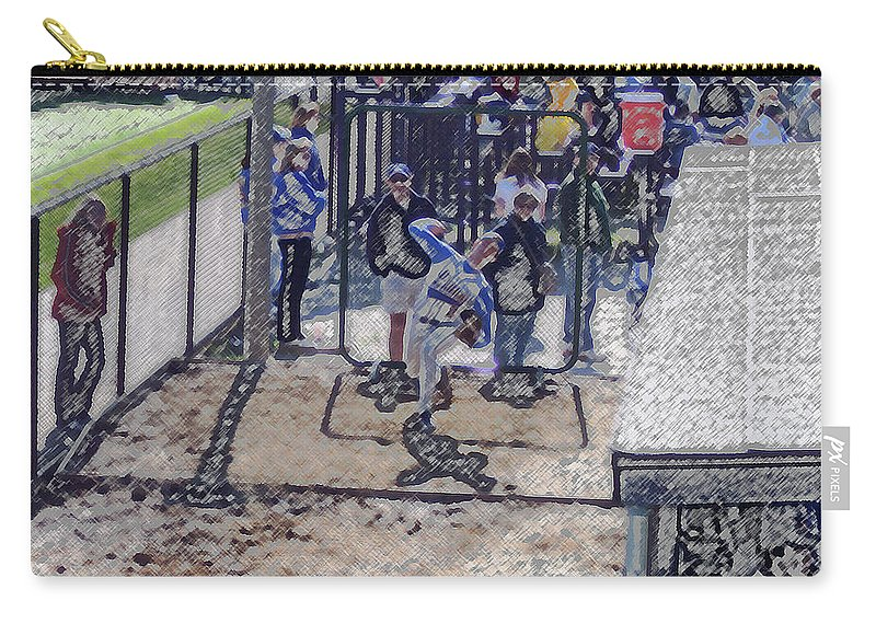 Sports Carry-all Pouch featuring the digital art Baseball Pitcher Warming Up Digital Art by Thomas Woolworth