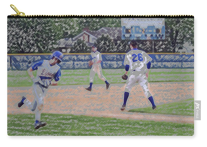 Sports Carry-all Pouch featuring the digital art Baseball Runner Heading Home Digital Art by Thomas Woolworth