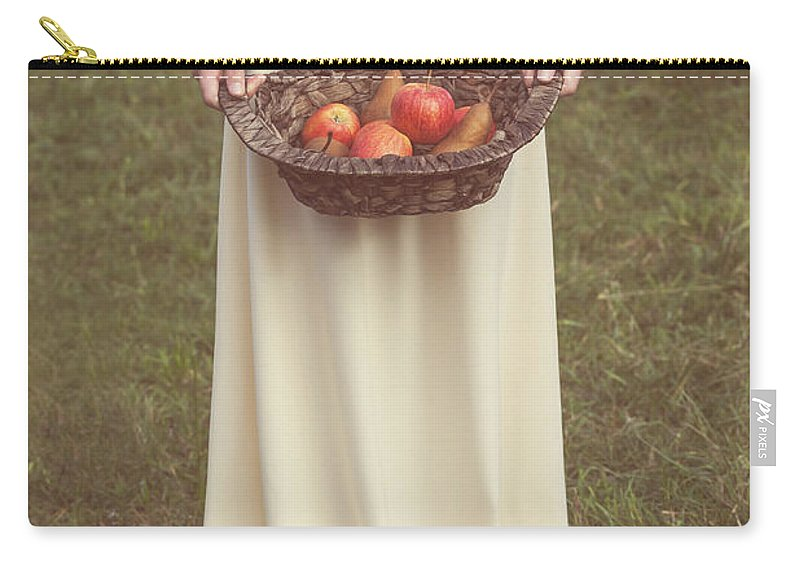 Woman Carry-all Pouch featuring the photograph Basket With Fruits by Joana Kruse