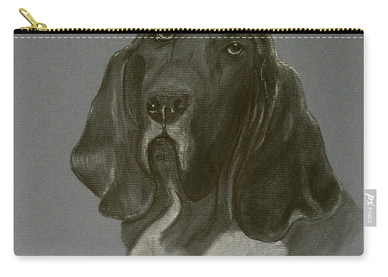 Basset Carry-all Pouch featuring the drawing Basset Hound by Susan Herber