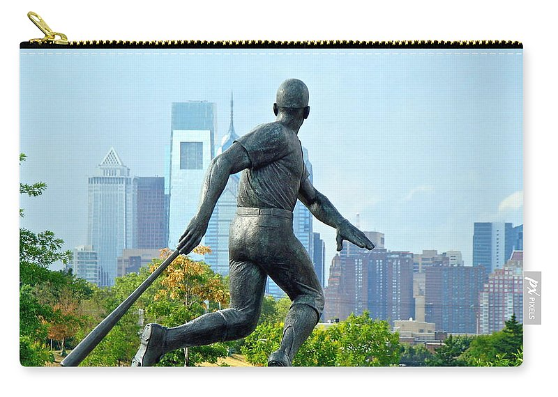 Baseball Statue Citizens Bank Park City View Philadelphia Carry-all Pouch featuring the photograph Batters City View by Alice Gipson