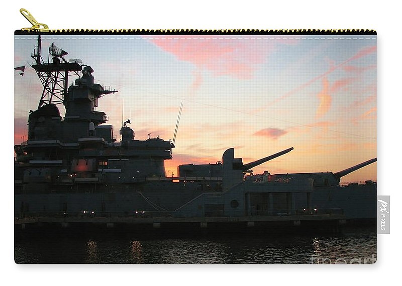Ship Carry-all Pouch featuring the photograph Battleship by Art Dingo