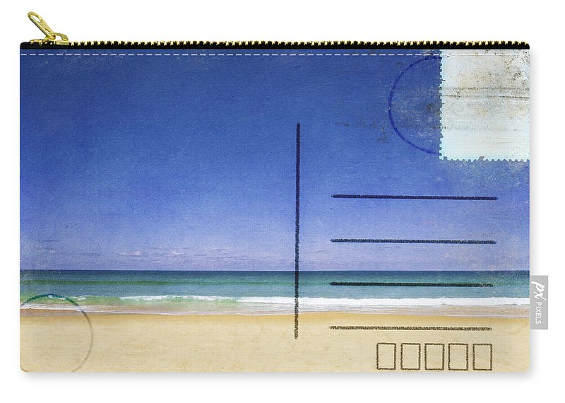 Address Carry-all Pouch featuring the photograph Beach And Blue Sky On Postcard by Setsiri Silapasuwanchai