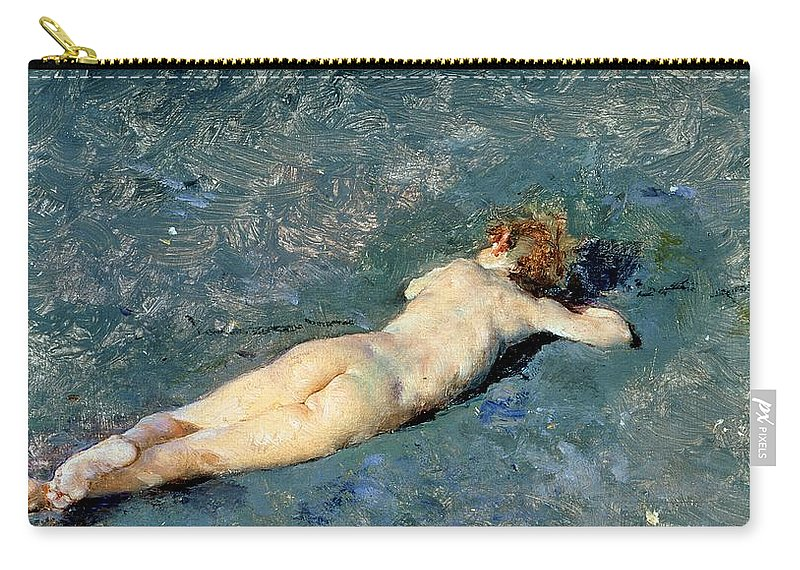 Nude Carry-all Pouch featuring the painting Beach At Portici by Mariano Fortuny y Marsal
