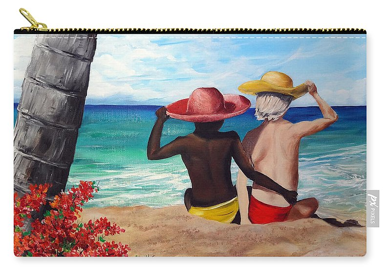 Beach Friends Carry-all Pouch featuring the painting Beach Buddies by Karin Dawn Kelshall- Best