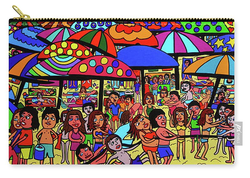 Karen Elzinga Art Carry-all Pouch featuring the painting Beach Party by Karen Elzinga