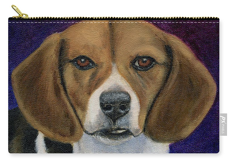 Beagle Carry-all Pouch featuring the painting Beagle Puppy by Michelle Wrighton
