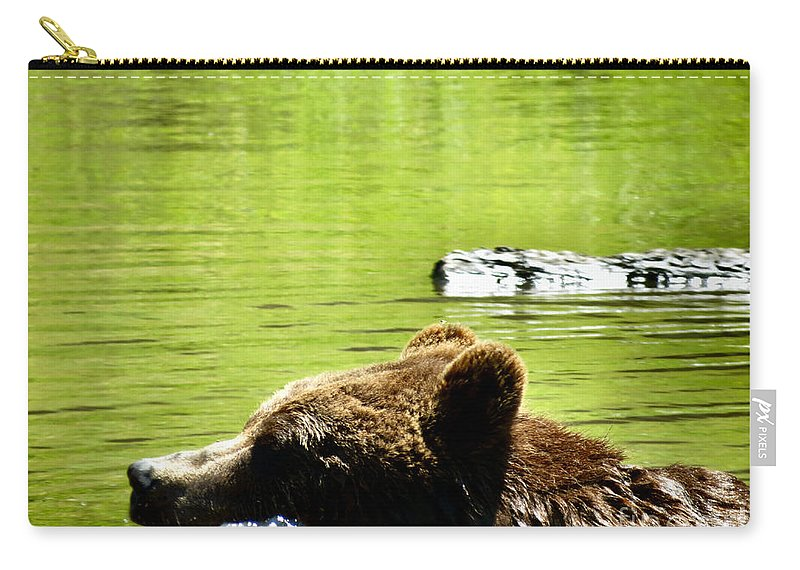 Bear Carry-all Pouch featuring the photograph Bearly Swim by Art Dingo