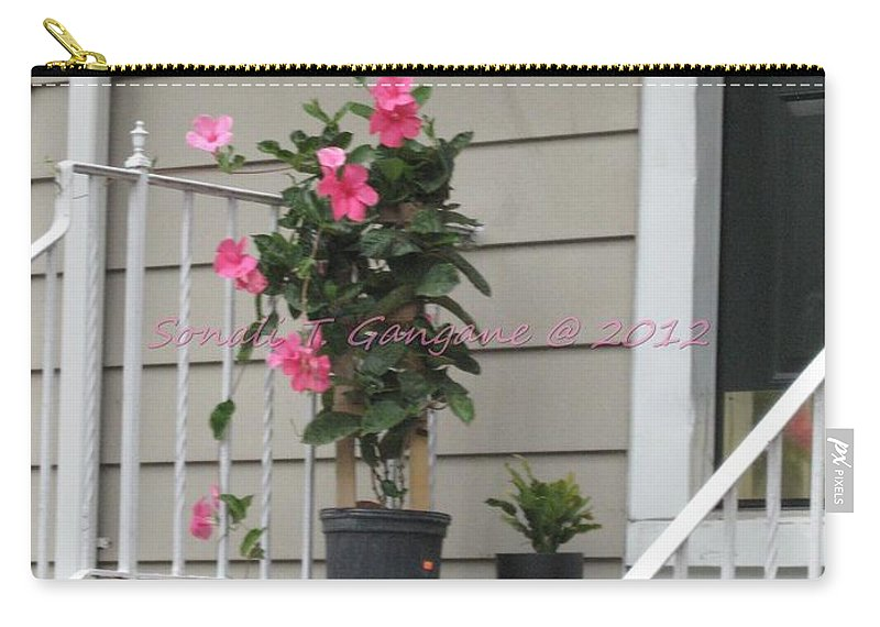 Pink Hibiscus Carry-all Pouch featuring the photograph Beautiful Floral Entrance by Sonali Gangane
