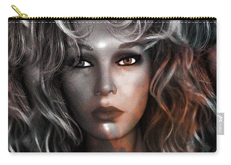 Mannequin Fashion Photos Carry-all Pouch featuring the photograph Surreal Female Fashion Mannequin Portrait Art Deco by Kathy Fornal