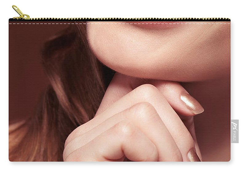 Mouth Carry-all Pouch featuring the photograph Beautiful Young Smiling Woman Mouth by Oleksiy Maksymenko