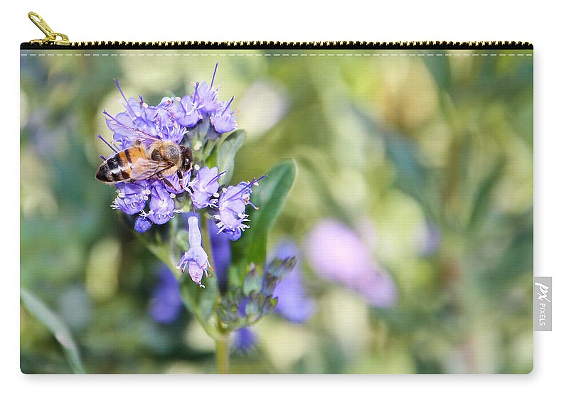 Bee Carry-all Pouch featuring the photograph Bee And Pastels by Heidi Smith