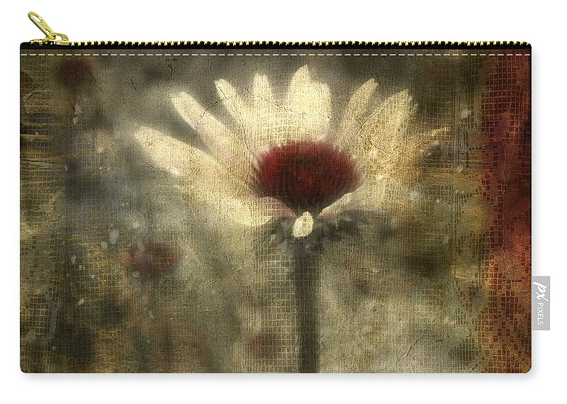 Flower Art Carry-all Pouch featuring the digital art Behind The Lace Curtain by Gothicrow Images