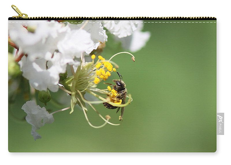 Honeybee Carry-all Pouch featuring the photograph Being A Bee by Travis Truelove