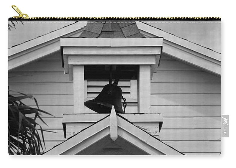 Architecture Carry-all Pouch featuring the photograph Bell Tower In Black And White by Rob Hans