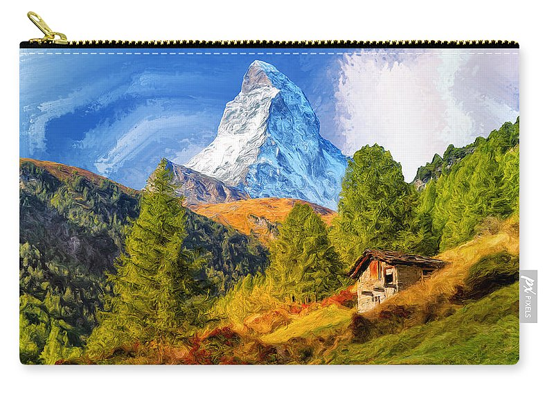 Matterhorn Carry-all Pouch featuring the painting Below The Matterhorn by Dominic Piperata