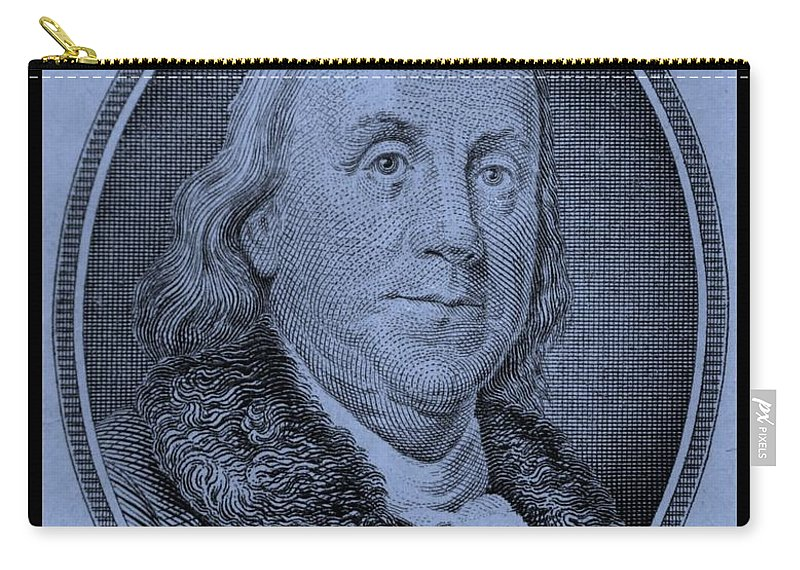 Ben Franklin Carry-all Pouch featuring the photograph Ben Franklin In Cyan by Rob Hans