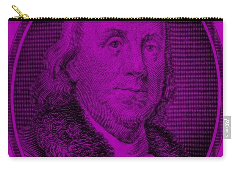 Ben Franklin Carry-all Pouch featuring the photograph Ben Franklin In Purple by Rob Hans