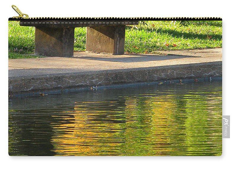 Bench Carry-all Pouch featuring the photograph Bench And Reflections In Tower Grove Park by Greg Matchick