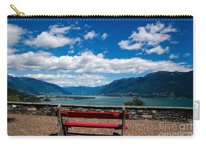 Bench Carry-all Pouch featuring the photograph Bench With Panorama View by Mats Silvan