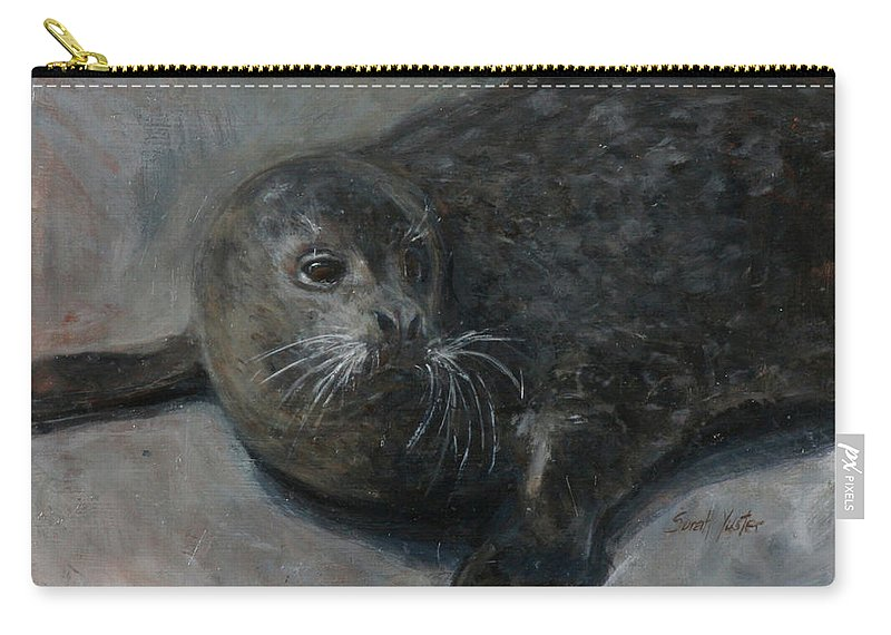 Bernie Carry-all Pouch featuring the painting Bernie by Sarah Yuster