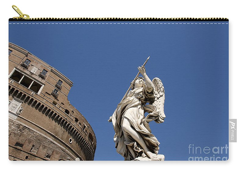Works Carry-all Pouch featuring the photograph Bernini Statue On The Ponte Sant Angelo by Bernard Jaubert