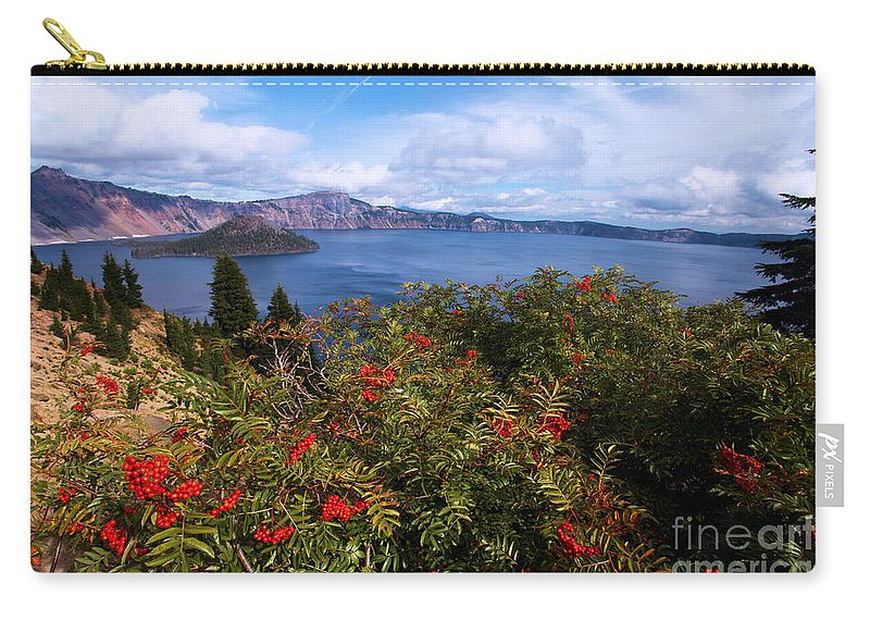 Crater Lake National Park Carry-all Pouch featuring the photograph Berries By The Lake by Adam Jewell