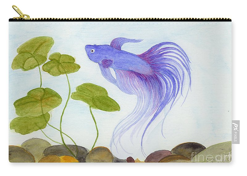 Betta Carry-all Pouch featuring the painting Blue Betta 2 by Jackie Irwin