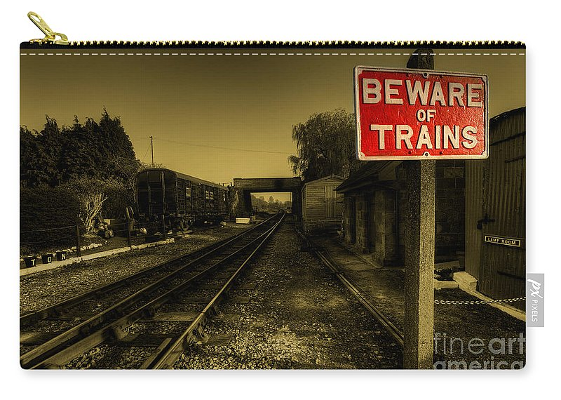 Beware Carry-all Pouch featuring the photograph Beware Of Trains by Rob Hawkins