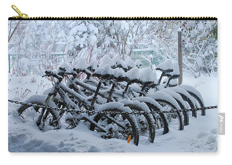 Bicycle Carry-all Pouch featuring the photograph Bicycles In The Snow by Heidi Smith