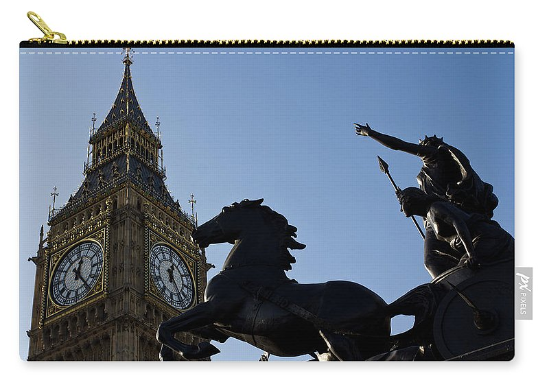 Digital Carry-all Pouch featuring the photograph Big Ben And Boadicea Statue by David Pyatt