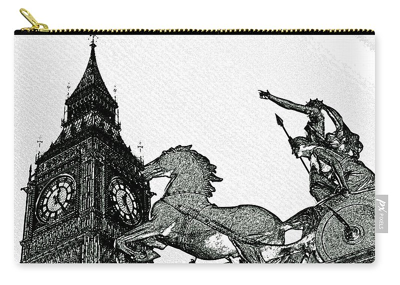 Charcoal Carry-all Pouch featuring the digital art Big Ben And Boudica Charcoal Sketch Effect Image by David Pyatt