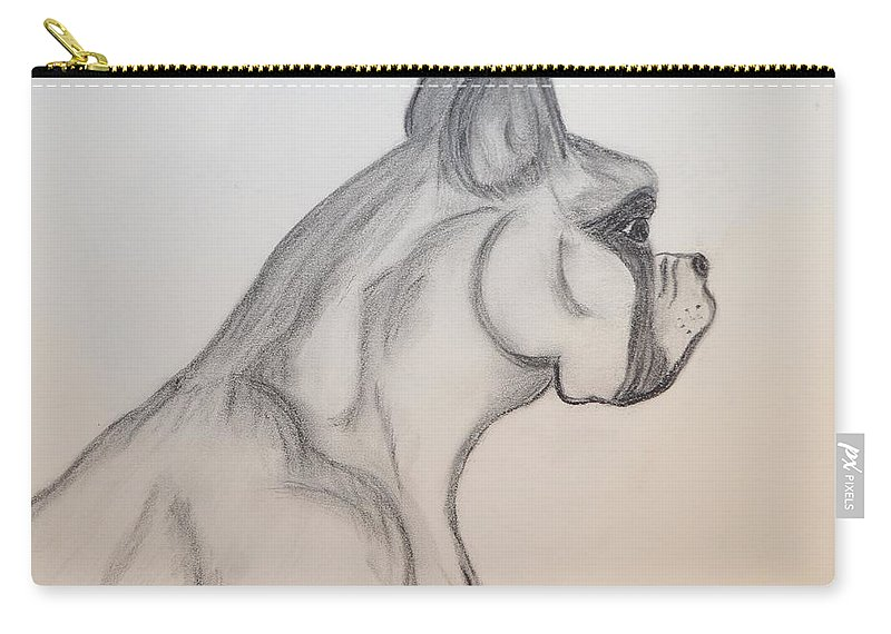 Boxer Carry-all Pouch featuring the drawing Big Boxer by Maria Urso