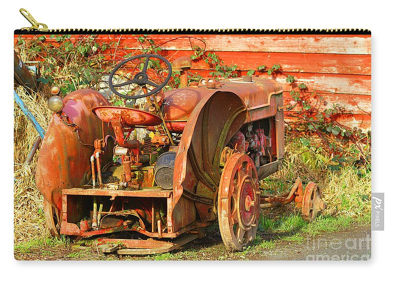 Tractors Carry-all Pouch featuring the photograph Big Red Tractor by Randy Harris