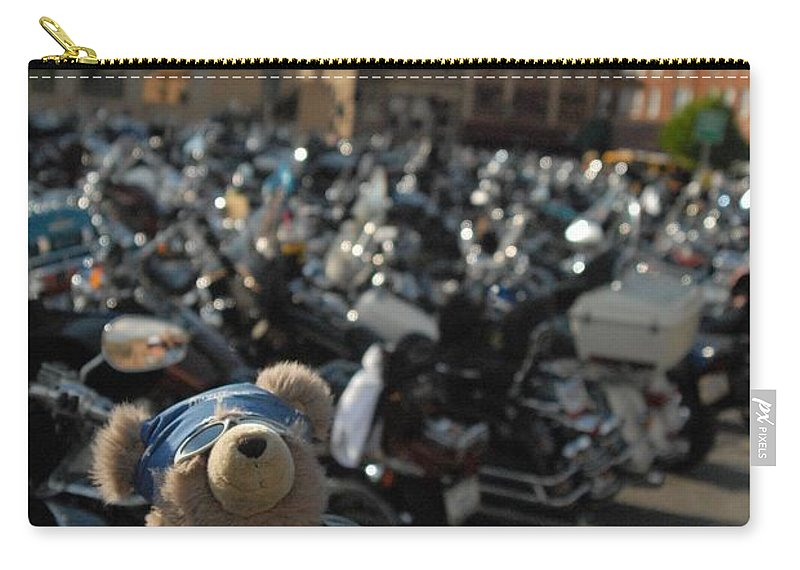 Bear Carry-all Pouch featuring the photograph Biker Bear by Anthony Wilkening