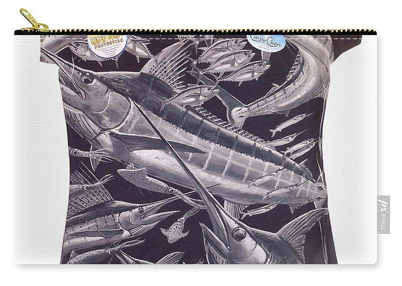 Carey Chen Carry-all Pouch featuring the digital art Billfish Ladies Shirt by Carey Chen