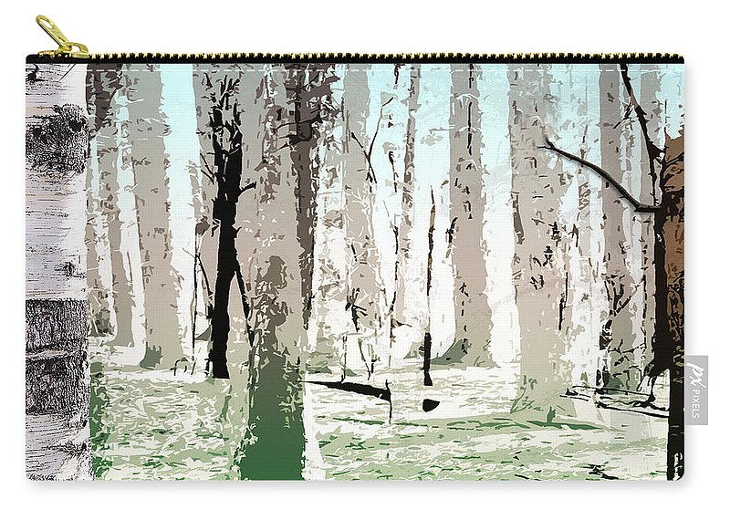 Photography Carry-all Pouch featuring the digital art Birch Forest by Phil Perkins